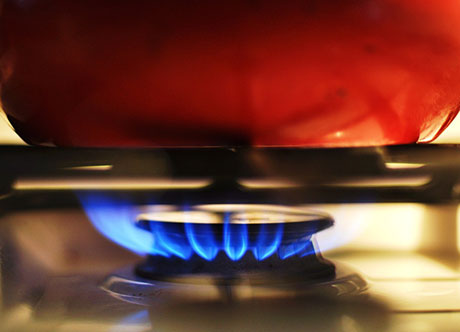 Gas hob working efficiently